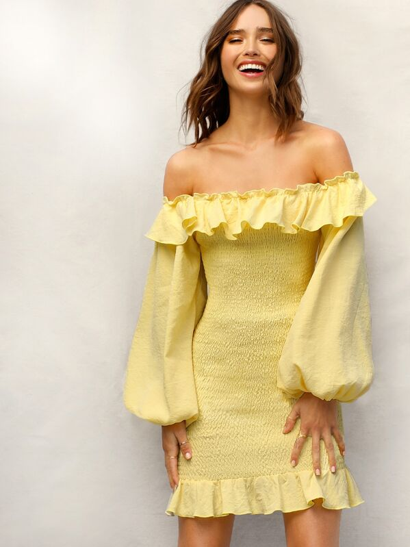 Ruffle Off The Shoulder Bishop Sleeve Smocked Dress by Shein