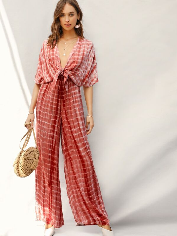 b0c166f553f Plunge Knot Front Tie Dye Palazzo Jumpsuit | SHEIN UK