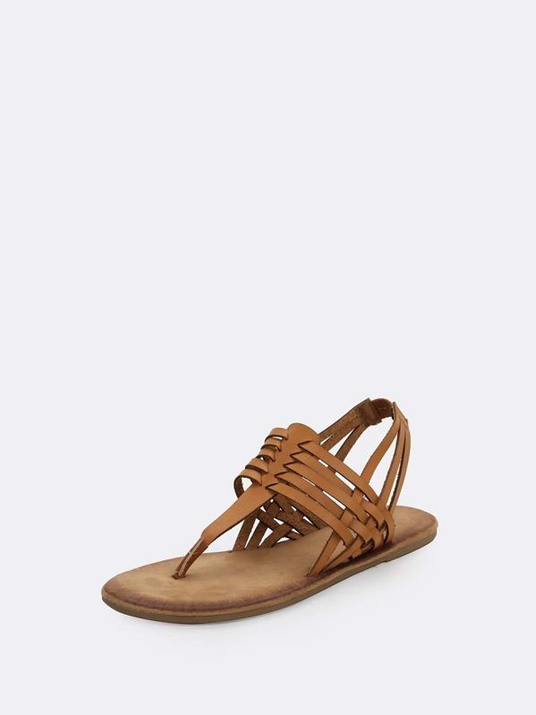 a283eb30b61 Woven Strap Huarache Thong Heel Strap Flat Sandals