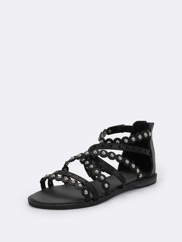Strappy Studded Back Zip Gladiator Flat Sandals by Sheinside