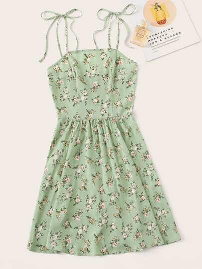 5bf02742119 Ditsy Floral Self Tie Shoulder Dress