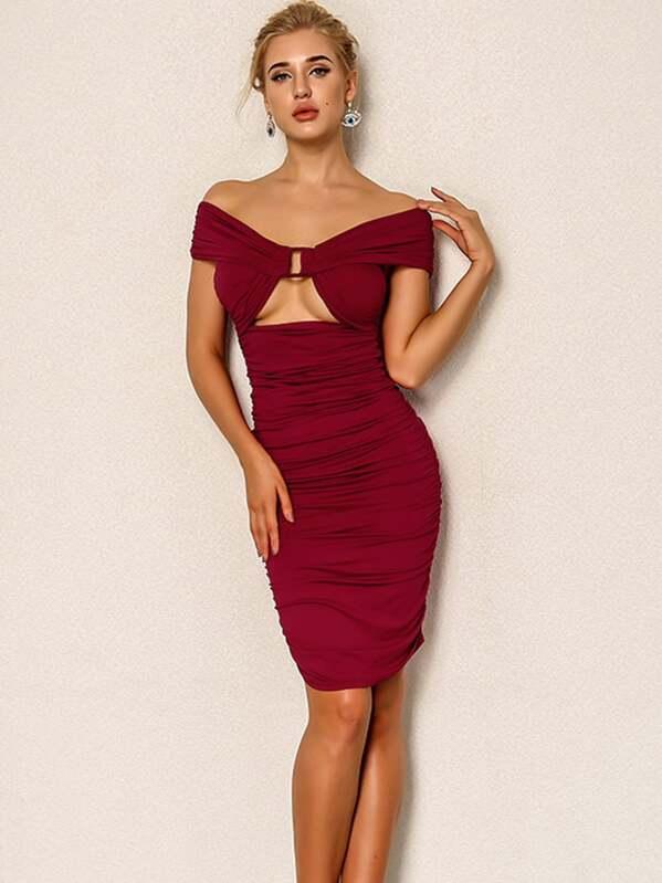 4a56095a383e Joyfunear Cut Out Front Ruched Bardot Dress | SHEIN UK