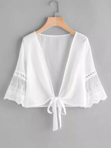 Plus Contrast Lace Knot Hem Blouse
