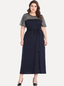 Plus Contrast Mesh Frill Belted Dress