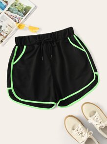 Plus Contrast Trim Drawstring Waist Shorts