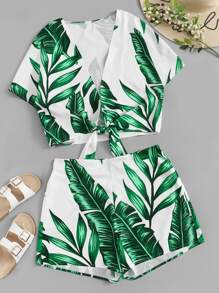 Plus Knot Hem Leaf Print Top With Shorts