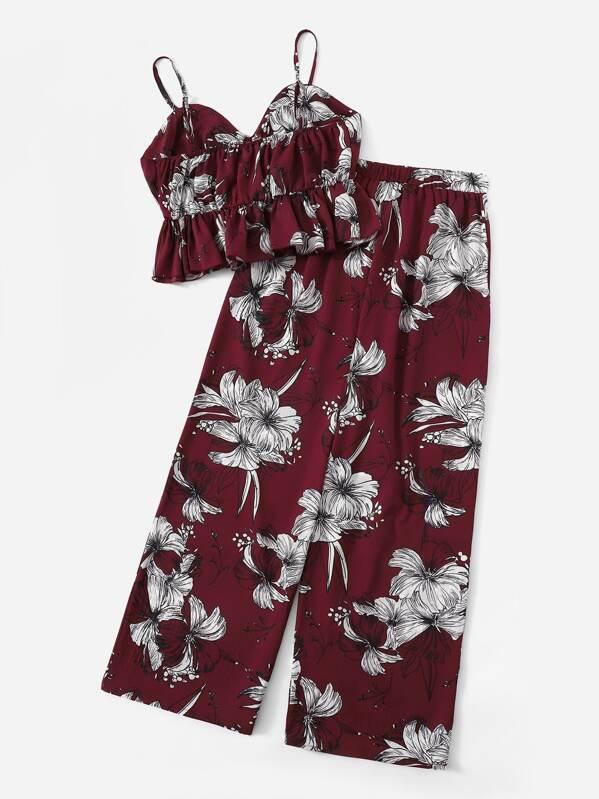 706139d97b4 Plus Floral Print Cami Top With Pants
