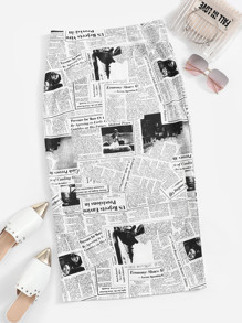 Newspaper Print Split-back Skirt