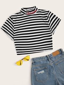Striped Letter Print Stand Collar Crop Tee