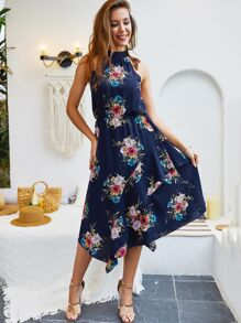 Floral Print Ruffle Trim Knot Back Halter Dress