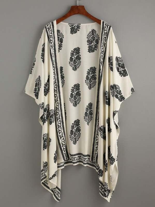 db39c5a2e Vintage Pattern Print Hanky Hem Kimono | SHEIN UK