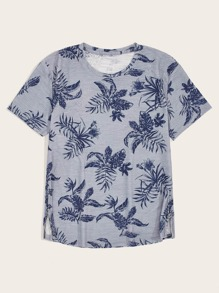 Men Tropical Print Slit Hem Tee
