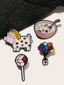 Pig & Lollipop Brooch Set 4pcs