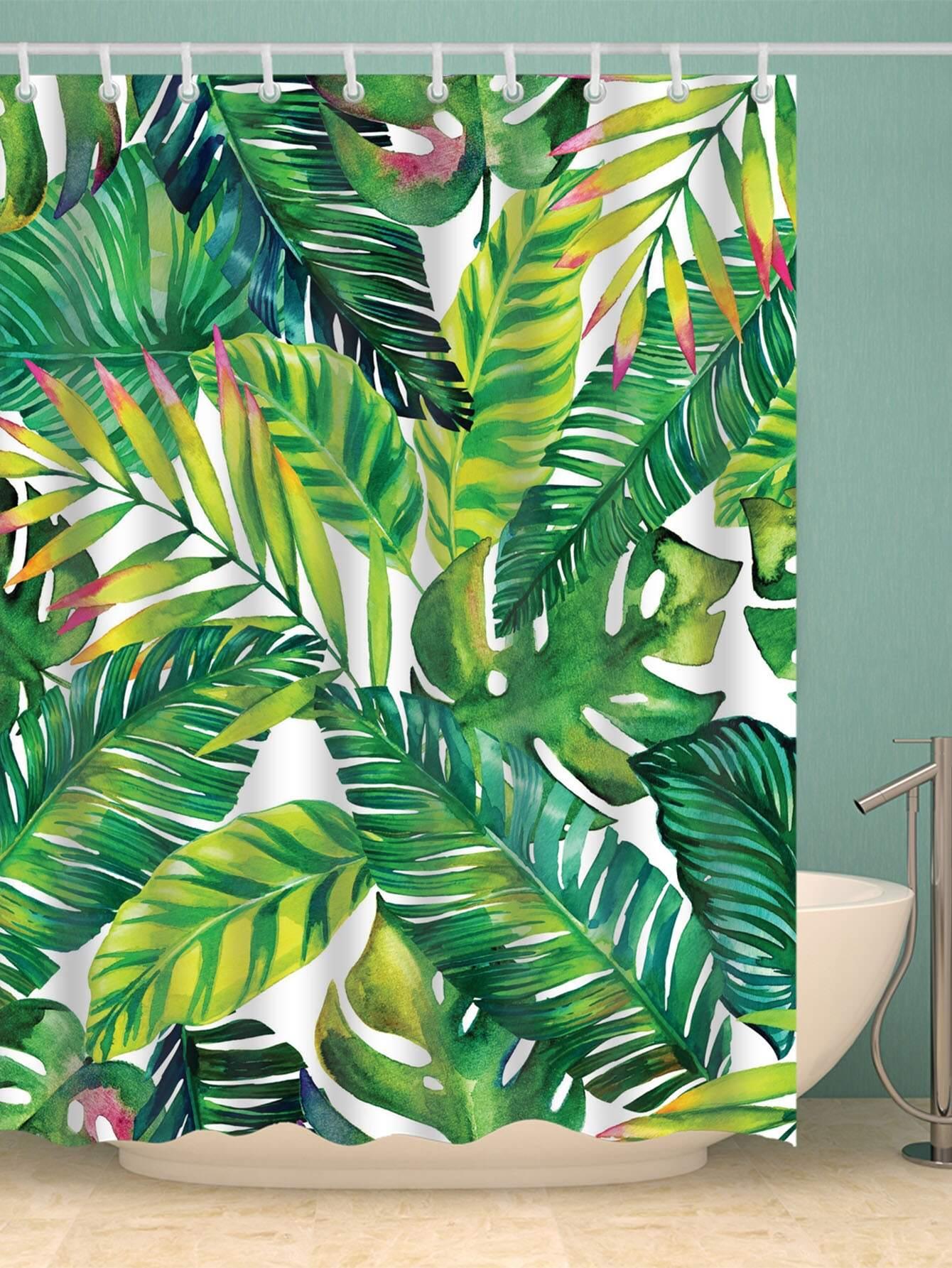 rideau de douche avec imprim palme avec crochet 12 pi ces. Black Bedroom Furniture Sets. Home Design Ideas
