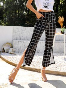 Plaid Slit Side Drawstring Waist Pants