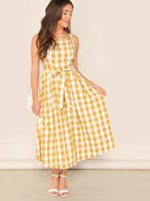 Self Belted Pinafore Gingham Dress