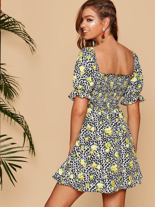 174f8e297b0 Leopard & Daisy Print Frill Detail Smock Dress | SHEIN IN