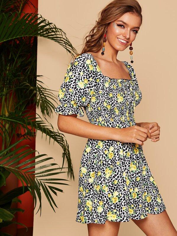 d82620fc91c Leopard & Daisy Print Frill Detail Smock Dress | SHEIN