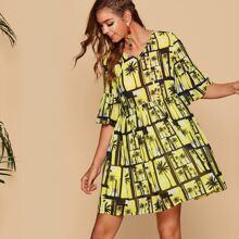 Tie Neck Bell Sleeve Coconut Tree Print Smock Dress