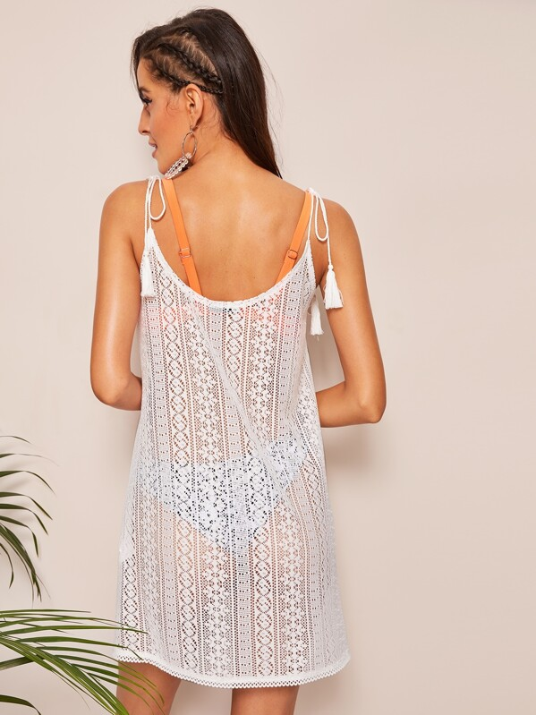 337d0de348415 Tassel Tie Shoulder Crochet Cover Up Dress | SHEIN