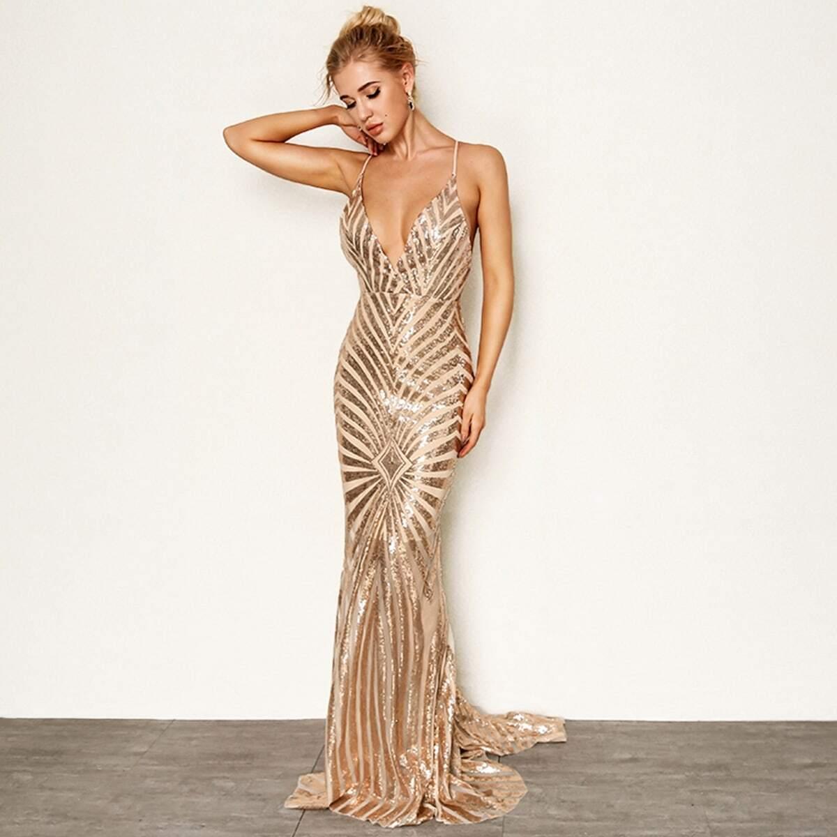 Crisscross Open Back Fishtail Metallic Sequin Dress