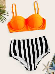 8fbafef54d Cutout Mesh Panel High Waist Bikini Set | ROMWE