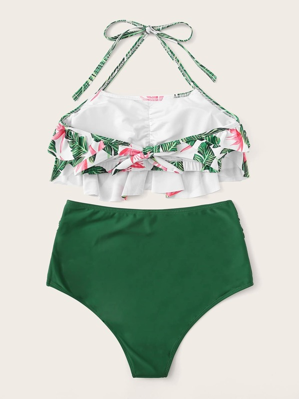 d3a185e39 Ensemble de bikini taille haute avec imprimé et ras-du-cou et des plis