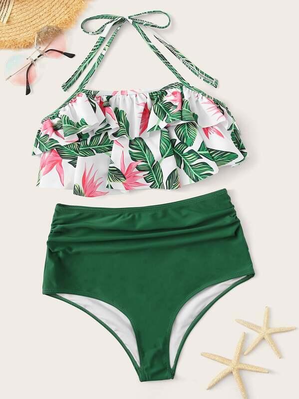 7d9caa18e8b6c Jungle Print Halter Ruffle Top With High Waist Bikini | SHEIN UK
