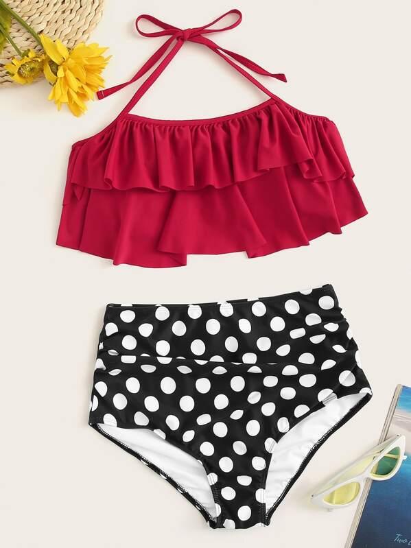 ba489db8af1de Polka Dot Ruffle Halter Top With High Waist Bikini | SHEIN UK