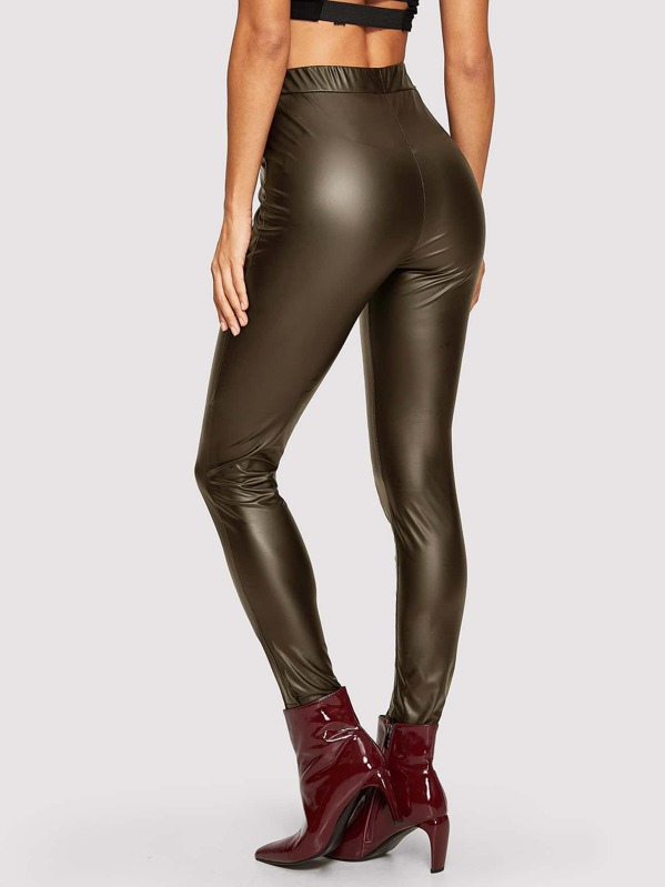 17d5c60819 Faux Leather Skinny Solid Pants | SHEIN