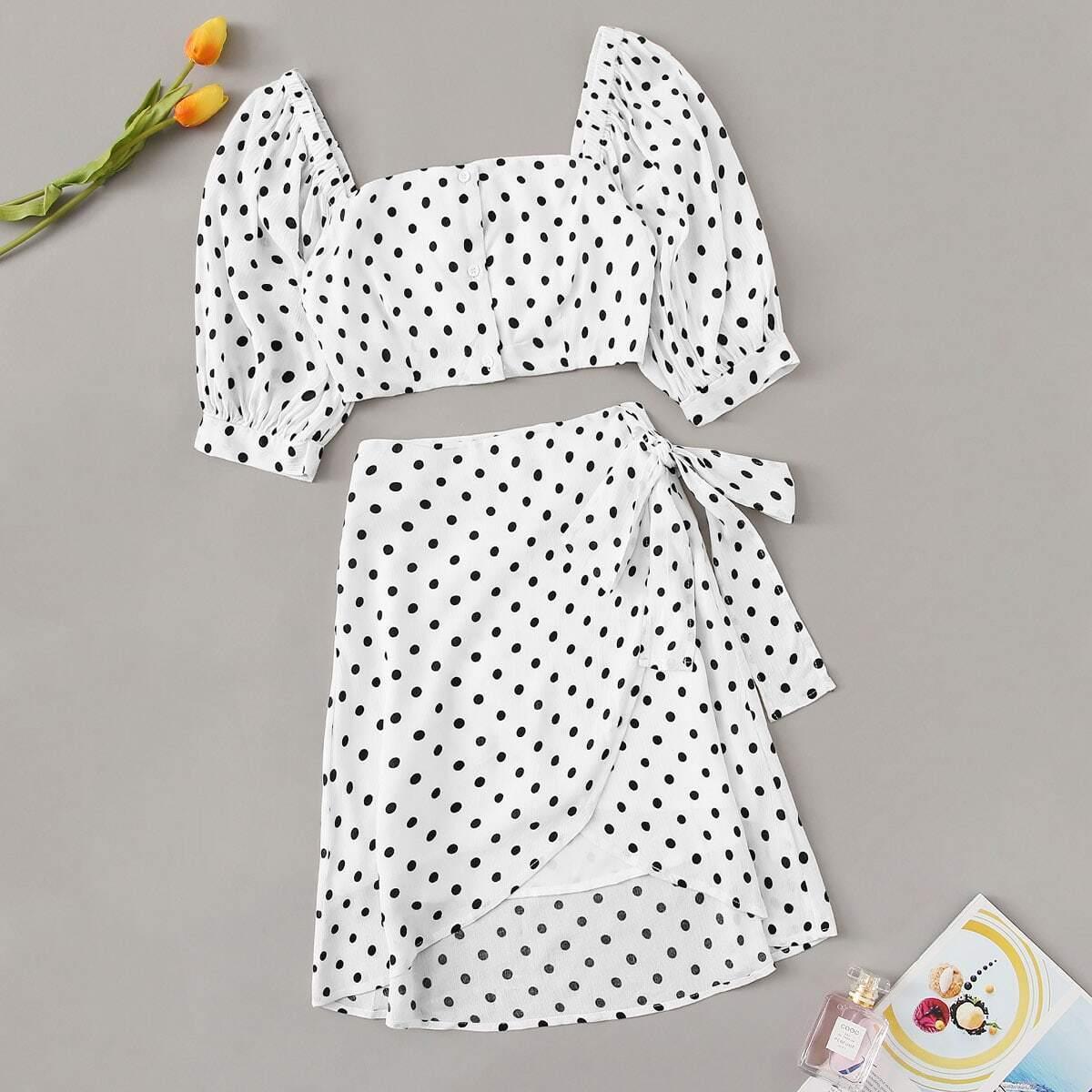 Buttoned Crop Polka Dot Top & Knot Overlap Skirt Set