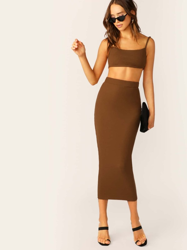 82bb5e3618 Rib Knit Crop Cami Top And Midi Pencil Skirt Set | SHEIN