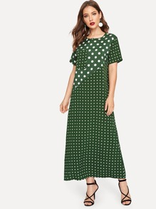 Polka Dot Pocket Detail Longline Dress