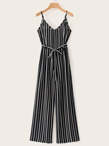 Self Tie Striped Cami Jumpsuit