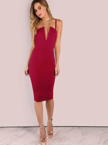 350d6debf33e V Plunging Cami Midi Dress | SHEIN
