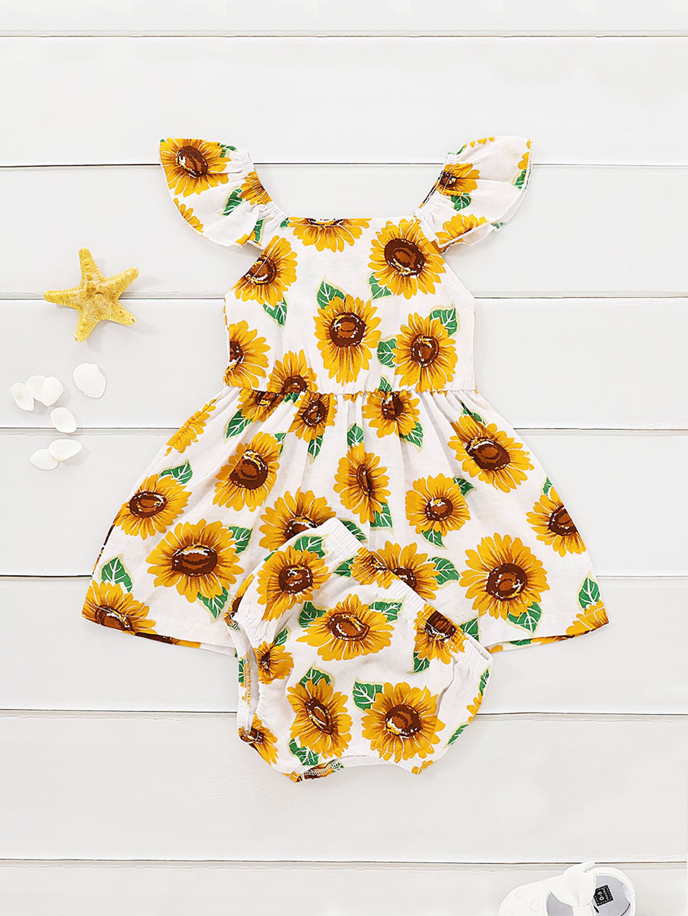 06aff3bf21561 Toddler Girls Sunflower Print Dress With Shorts | SHEIN