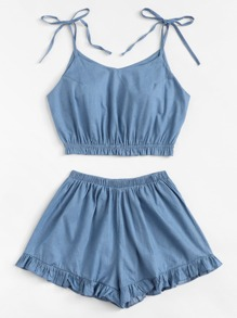 Plus Knot Denim Cami Top With Frill Denim Shorts