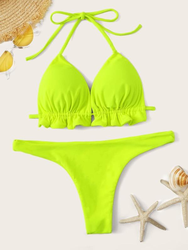 ed2498676701 Bikini halter tipo triángulo de color neón con tanga