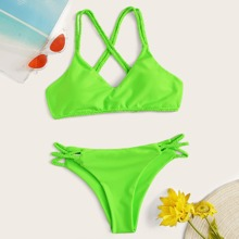 Neon Lime Criss Cross Top With Braided Detail Bikini