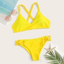 Criss Cross Top With Braided Detail Bikini Set