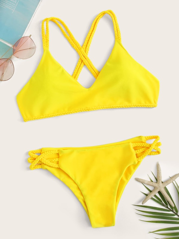87aeeafb6c Criss Cross Top With Braided Detail Bikini Set | SHEIN UK