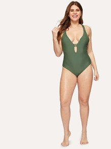 3b8cc91d3ef9 Cheap Plus Deep Plunging Strappy Back One Piece Swimsuit for sale Australia  | SHEIN