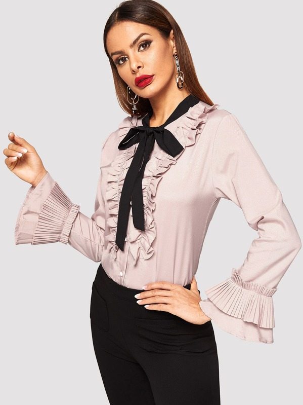 83e74fb87d Cheap Tie Neck Flounce Sleeve Ruffle Shirt for sale Australia | SHEIN