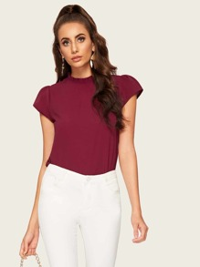Solid Frill Neck Blouse