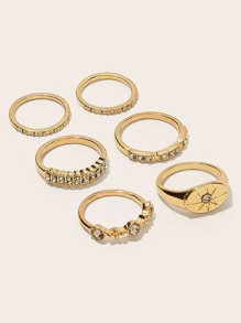 Rhinestone Engraved Ring Set 6pcs