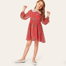 Girls Lace Collar Chain Print Smock Dress