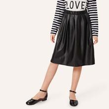 Girls Elastic Waist Box Pleated PU Skirt