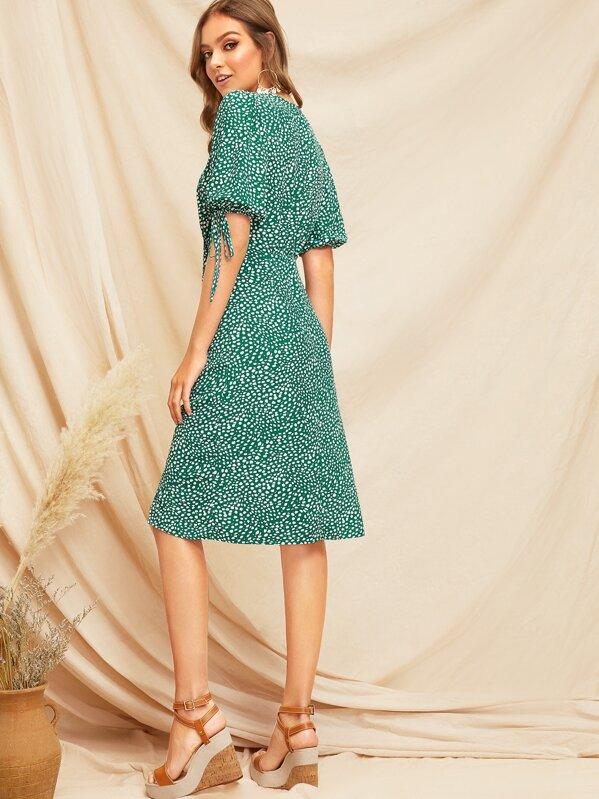 5872e154f5e0c Knot Cuff Split Hem Dalmatian Tea Dress   SHEIN