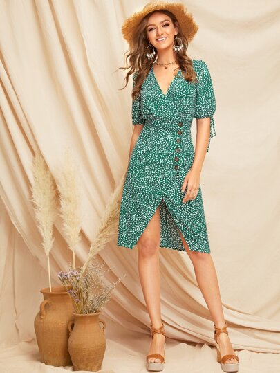 Knot Cuff Split Hem Dalmatian Tea Dress