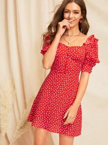 Sweetheart Neck Ruffle Trim Polka Dot Dress